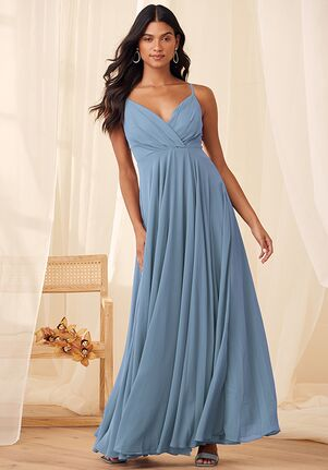 Lulus All About Love Slate Blue Maxi Dress V-Neck Bridesmaid Dress