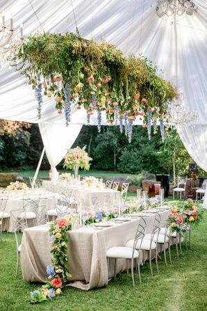 Tented Reception with Flower Garland Centerpieces and Hanging Greenery