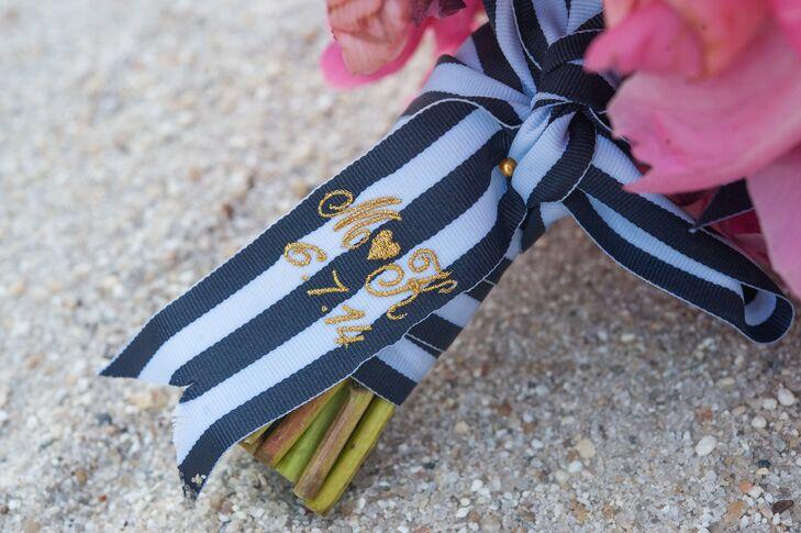 Preppy Striped Bouquet Wrap with Gold Monogram