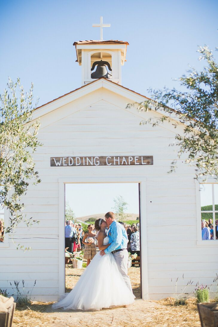 The entrance to the ceremony was designed to look like a wedding chapel. Guests passed through the open air structure on the way to their seats.