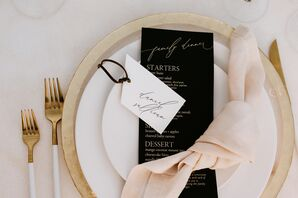 Black, White and Gold Place Settings with Menus