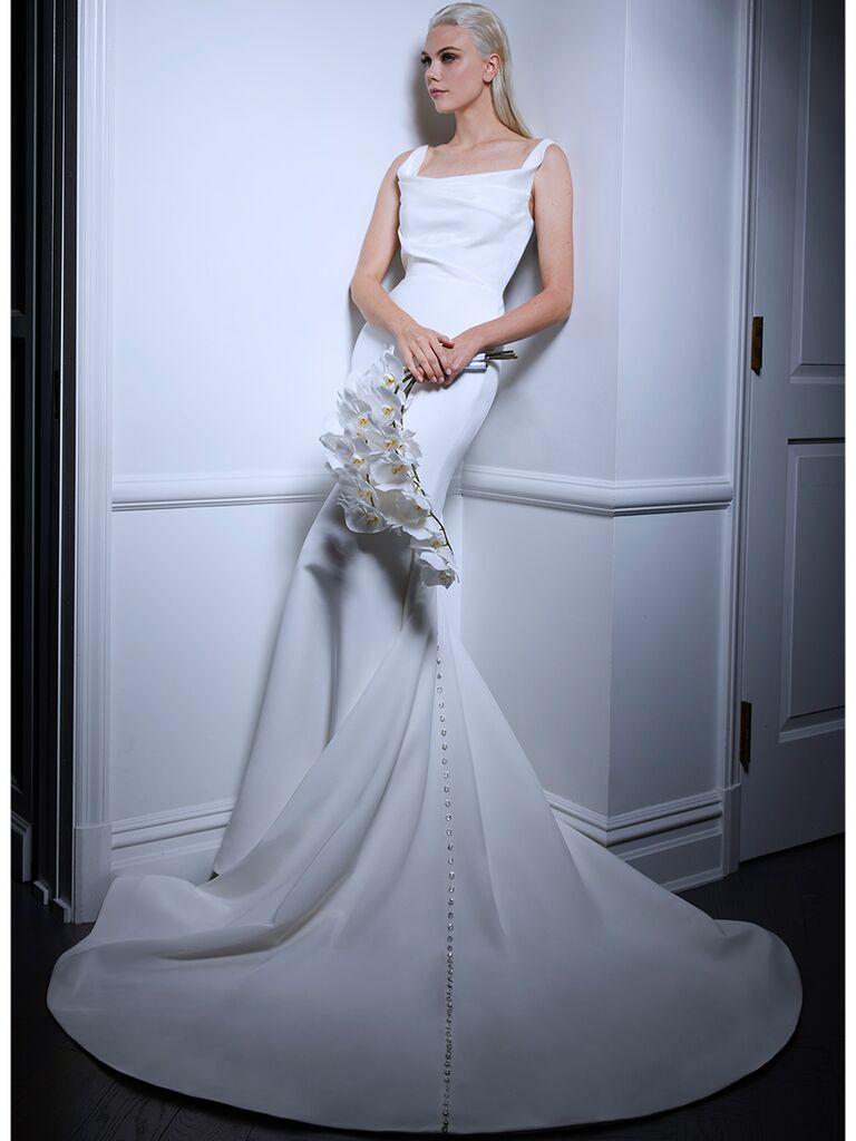 Romona Keveza wedding dress cowl neck