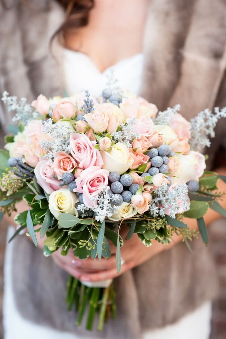 "Hornbacher's Floral of Fargo, North Dakota, created this lush, pastel bouquet using a mix of roses and hypericum berries. ""We wanted a look that was soft, since it was the middle of winter,"" Kelsey says."
