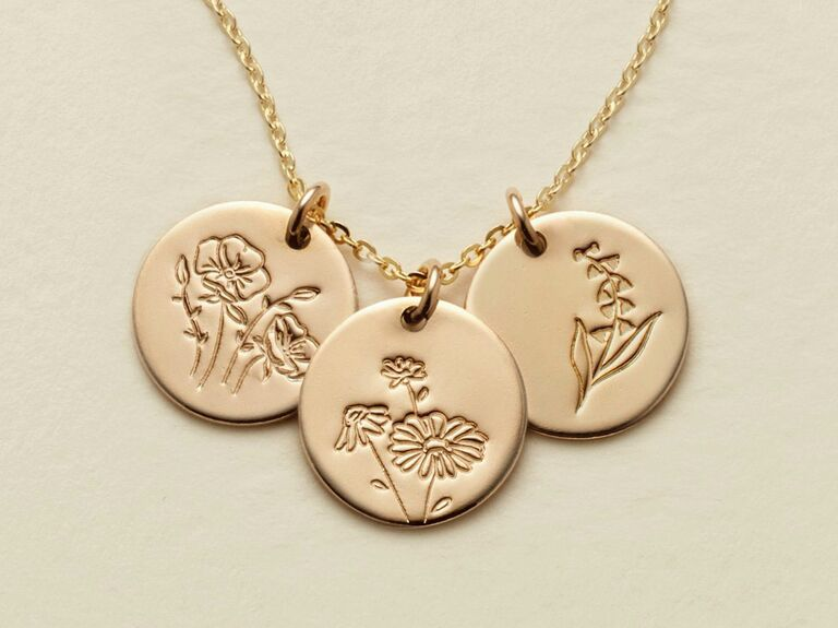 gold birth flower necklace with three discs