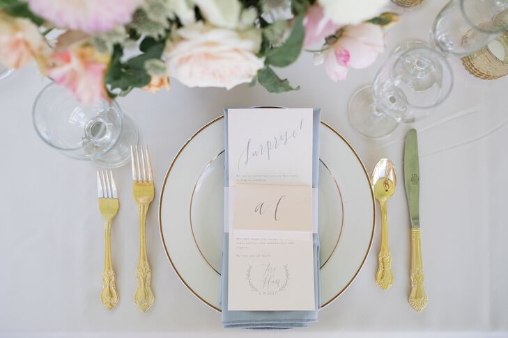 Elegant Paper Goods and Place Setting at Surprise Wedding
