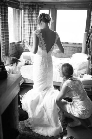 White Lace Applique Wedding Dress