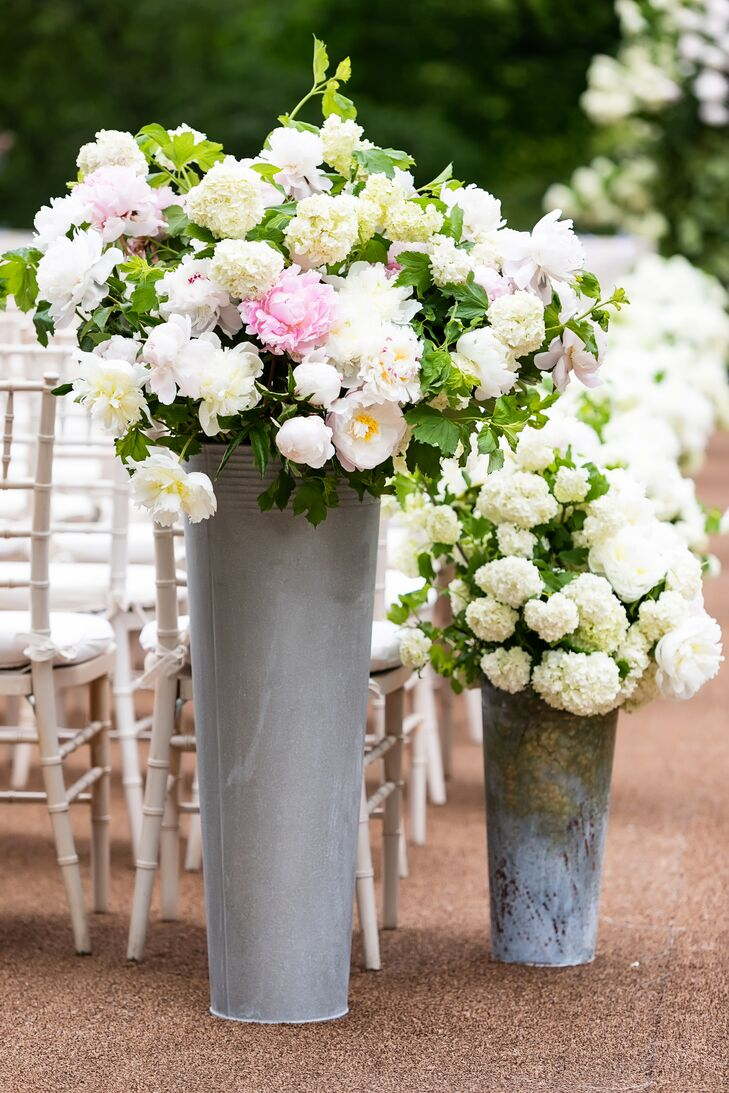 Pastel Flower Arrangement Aisle Decorations