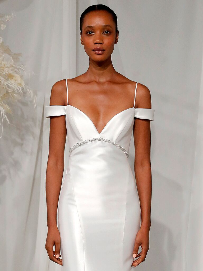 amsale nouvelle dress sweetheart neckline off the shoulder sleeves spaghetti strap