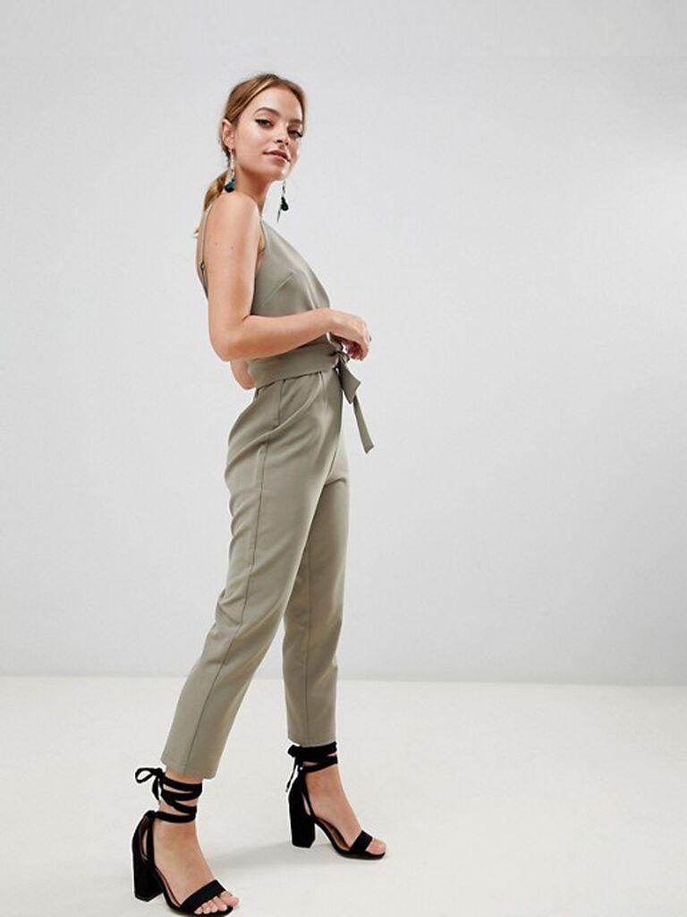 petite wrap front khaki jumpsuit