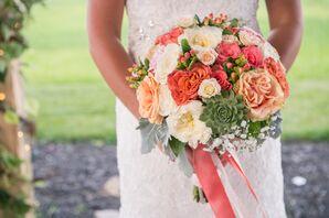 Rose, Succulent and Hypericum Berry Bridal Bouquet