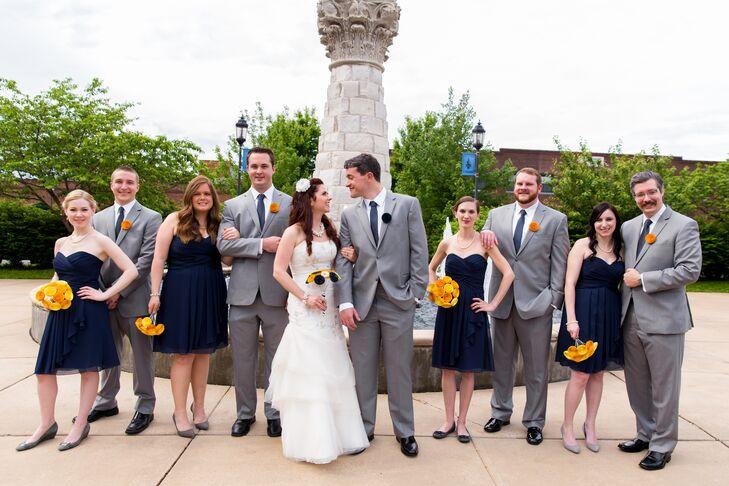 Navy Knee-Length Bridesmaid Dresses