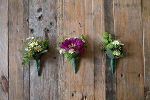 Seeded Eucalyptus and Daisy Boutonnieres
