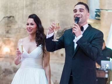 Bride and groom champagne toasting speech at wedding reception