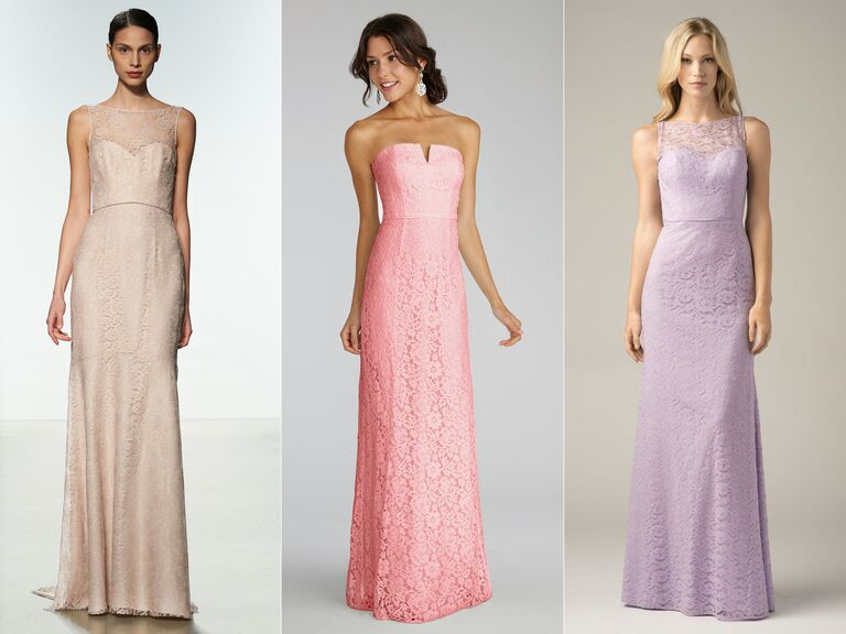 cotton lace long bridesmaid dresses