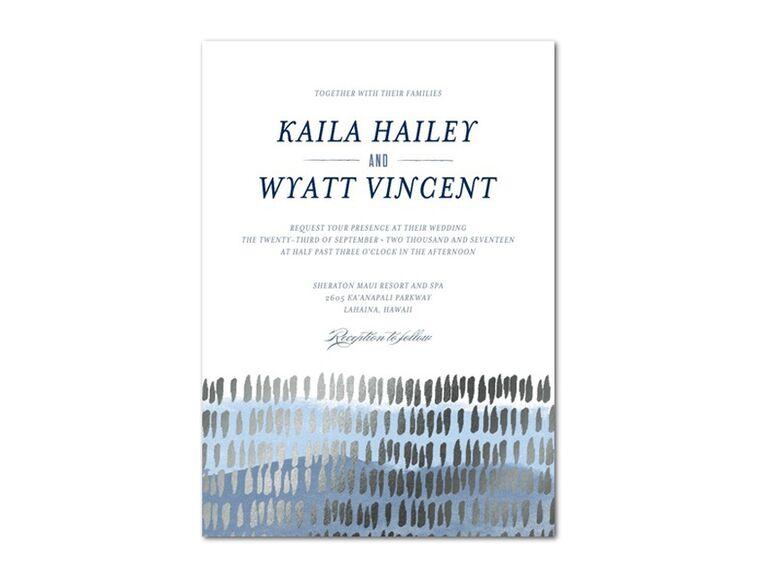 Blue watercolor and silver foil wedding invitation design