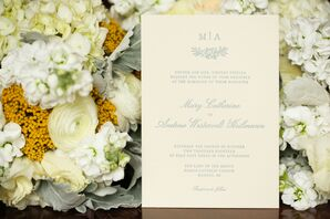 Embossed Traditional Ivory and Blue Invitation