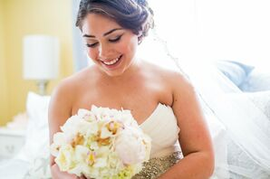 All-White Bridal Bouquet with Sugar Starfish Accents