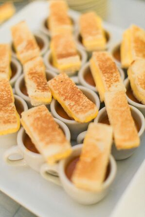 Soup Shooters with Grilled Cheese Bites