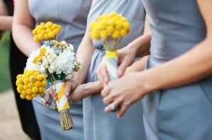 Yellow Craspedia Bridesmaid Bouquets