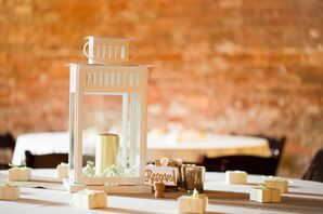 White Lantern Centerpieces with Candles