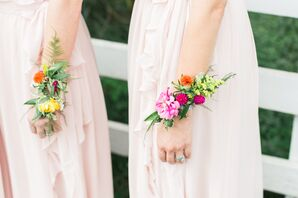 Pink and Green Bridesmaid Corsage