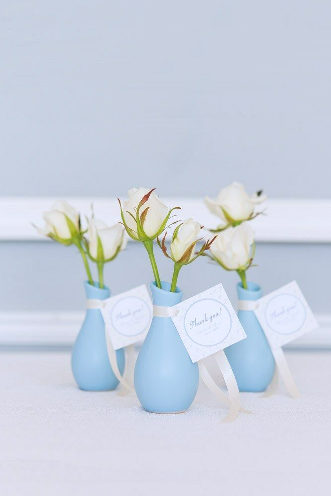 Mini bud vases for a cute bridal shower favor idea