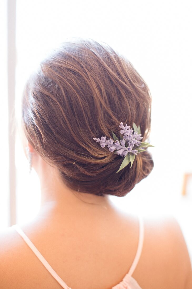 Elegant, Lilac-Accented Low Updo