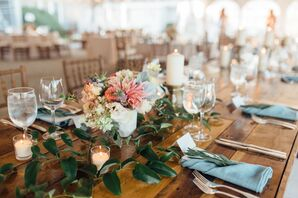 Rustic Wood Farm Table with Bright Dahlia Centerpieces and Blue Linens