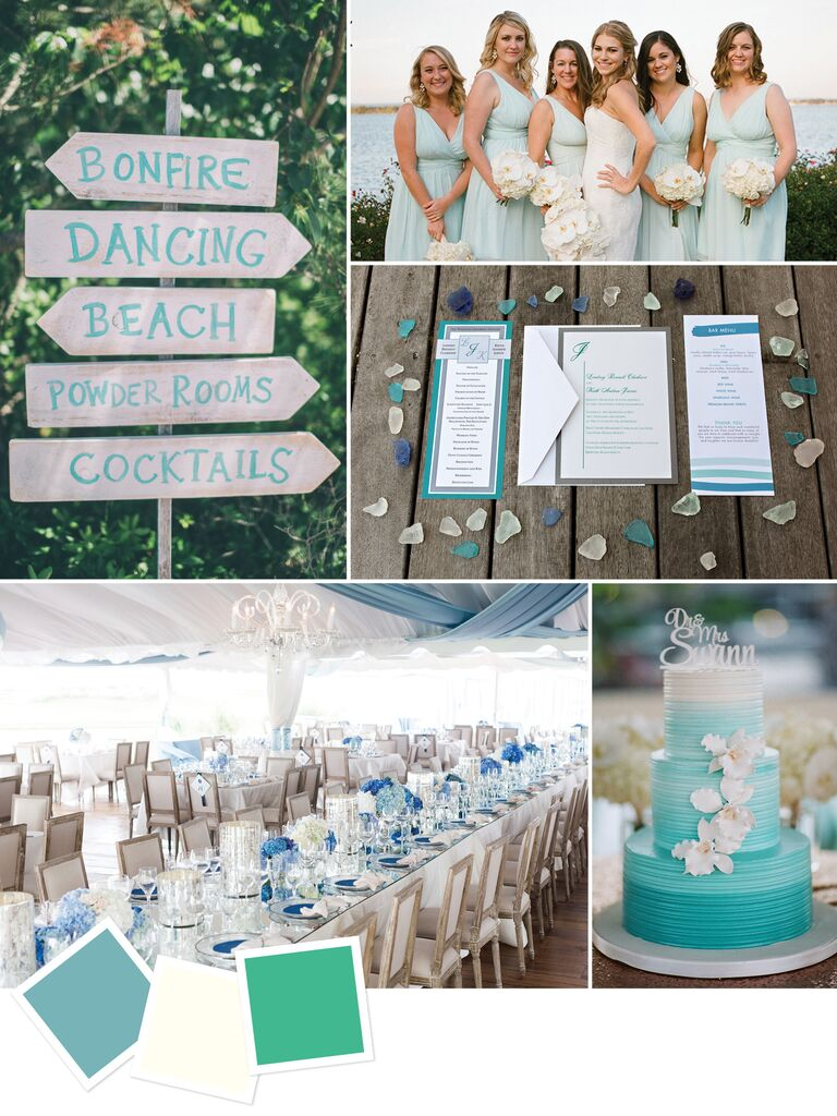 d8f4b508c48 Sea glass blue and green beach wedding colors