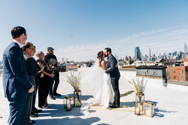 couple rooftop brooklyn wedding covid-19 coronavirus