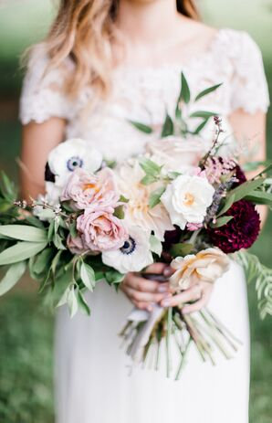 Bouquet with Anemones, Peonies and Greenery