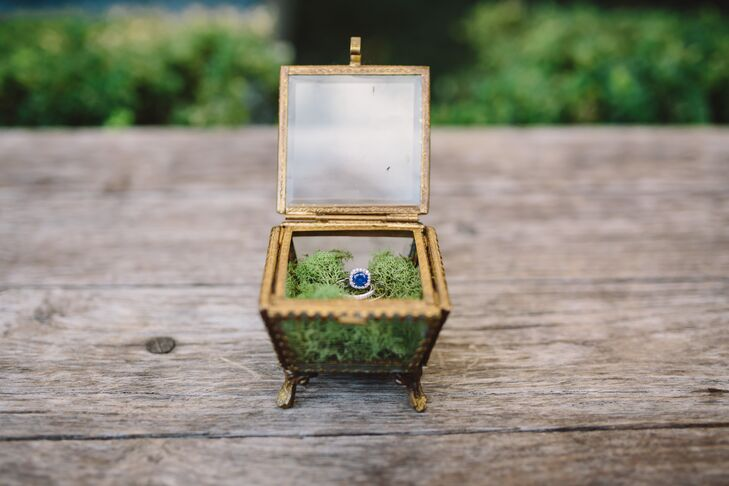 Gold Ring Box with Sapphire Engagement Ring