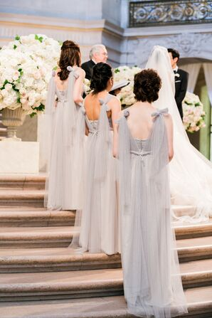 Romantic Gray Chiffon Bridesmaid Dresses with Bow Straps