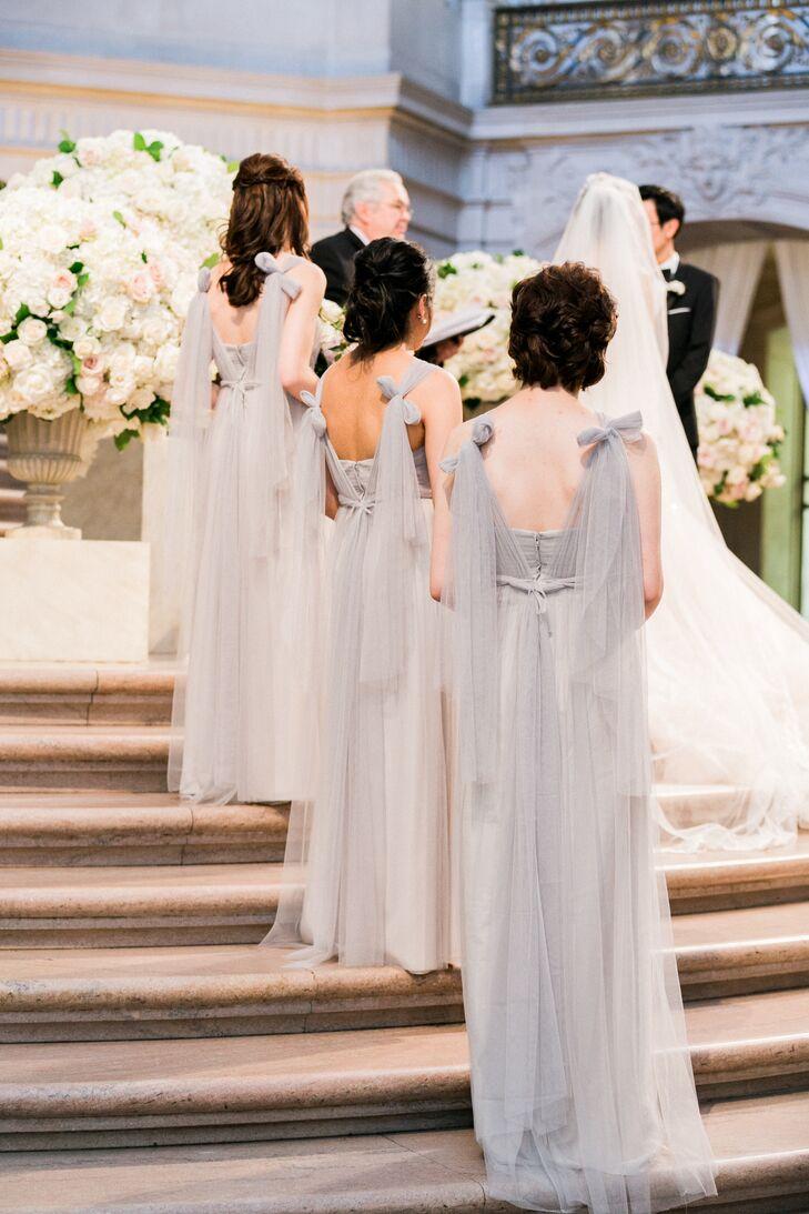 Romantic Gray Chiffon Bridesmaid Dresses with Bow Straps