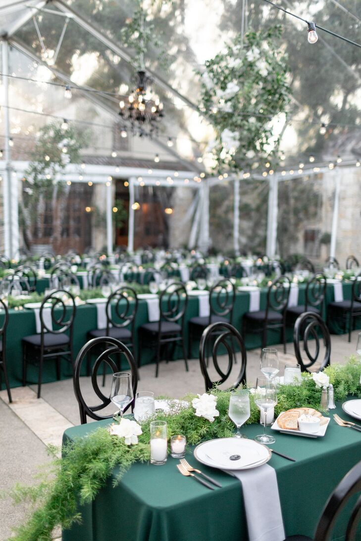 Tented Reception with Emerald-Green Linens