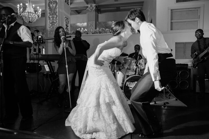 """""""We both love to dance so we opted for an upbeat first dance to 'Signed, Sealed, Delivered' by Stevie Wonder that started and ended with lots of energy,"""" says Hailey."""