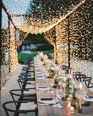 Long Dinner Table Under Canopy of String Lights at Santa Lucia Preserve in Carmel, California