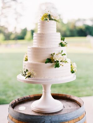 Simple Three-Tier Cake with White and Yellow Flowers