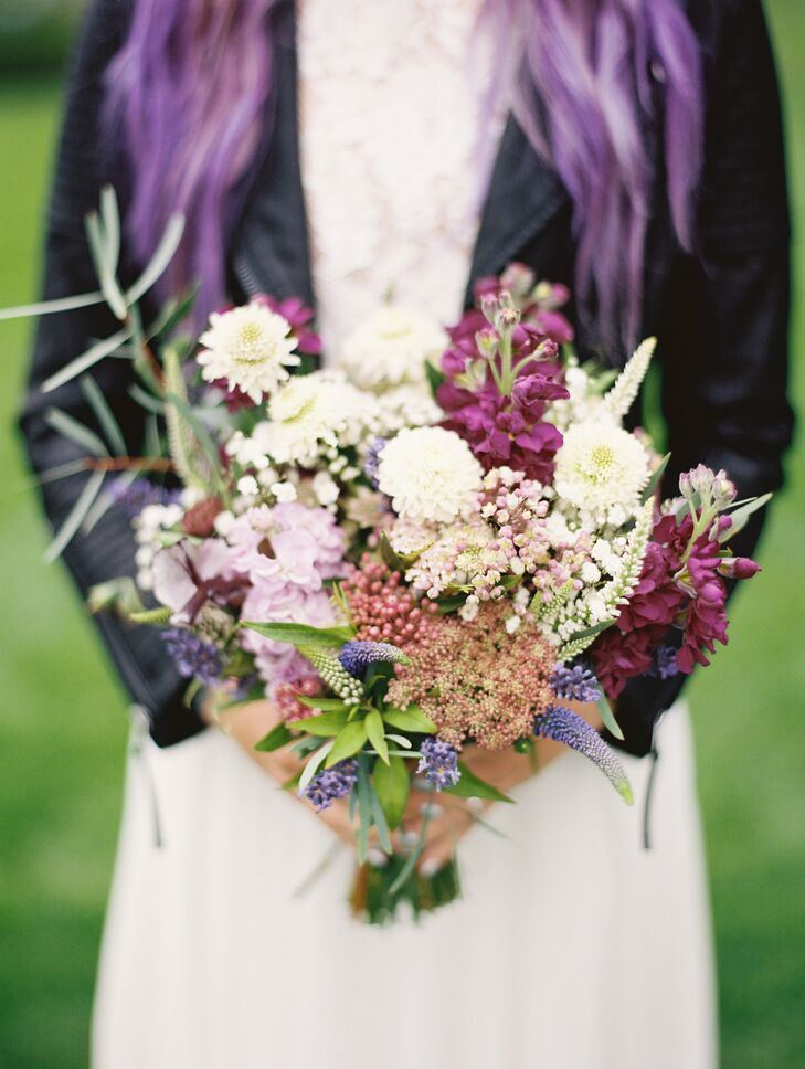 Purple Stock, Scabiosa and Veronica Bouquet