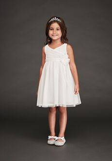 David's Bridal Flower Girl OP251 White Flower Girl Dress