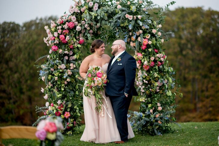 A rustic-meets-elegant barn set the scene for Megan Fortney (27 and a marketing manager) and Benjamin Smith's (26 and a student) flower-filled affair