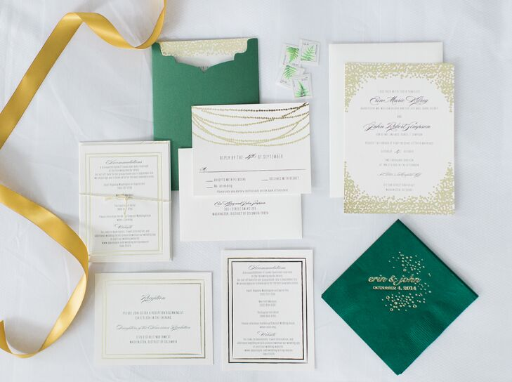"""We incorporated our colors and style into our invitations using traditional font with gold foil confetti trim,"" Erin says. ""We tied the invitation suite together with metallic twine and packaged it into emerald green pocket envelopes."""