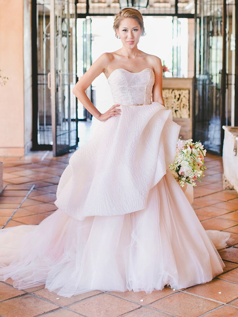 The prettiest blush and light pink wedding gowns blush pink wedding gown by lazaro junglespirit Image collections