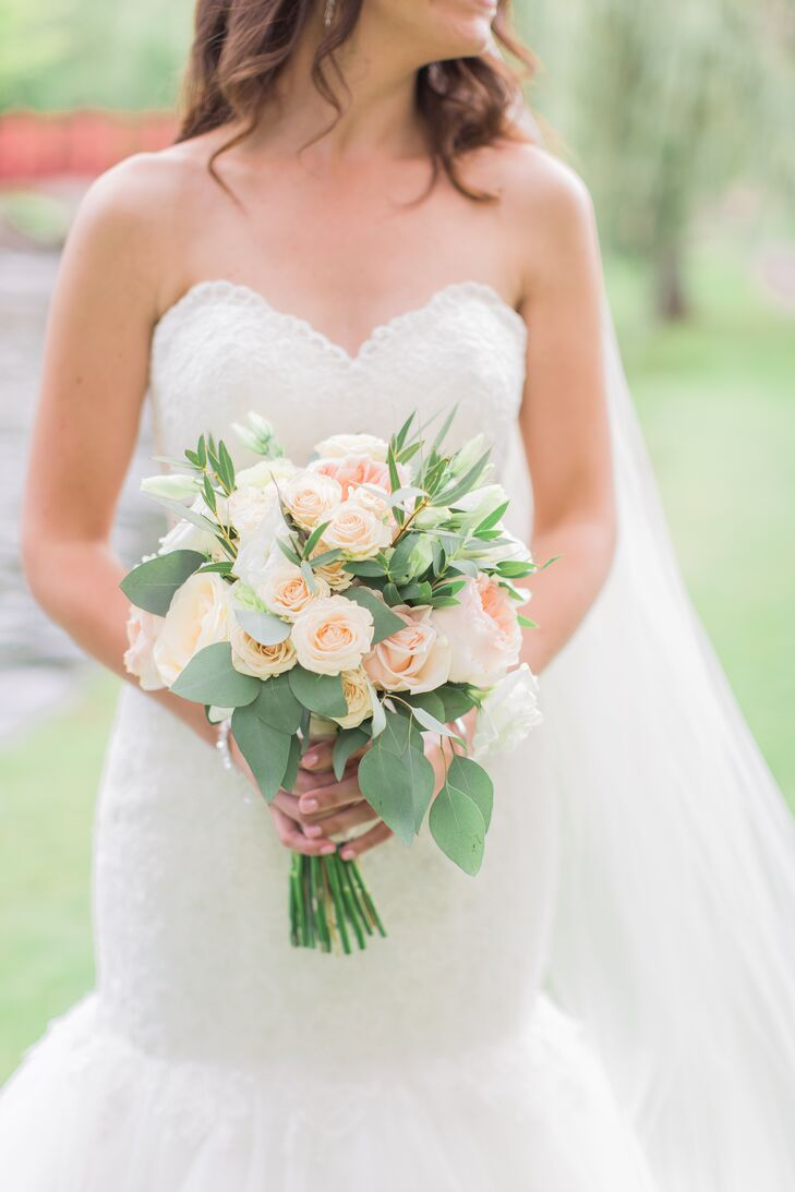 Pink Rose and Seeded Eucalyptus Bouquet