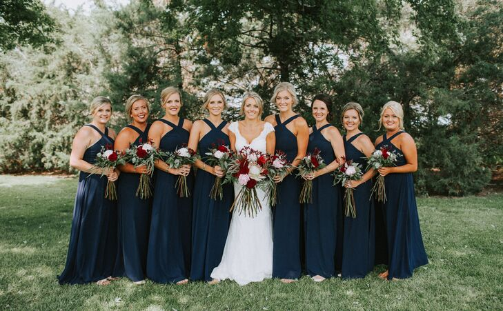 Navy Criss-Cross Halter Bridesmaid Dresses