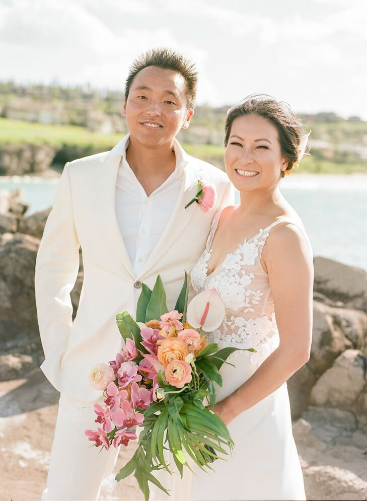 Bride and Groom Portraits at Tropical Wedding in Kapalua, Hawaii