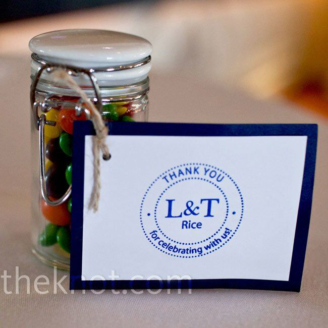 While the adults received spice jars of Old Bay seasoning, the kids were given sweet treats—jars of Skittles candy.