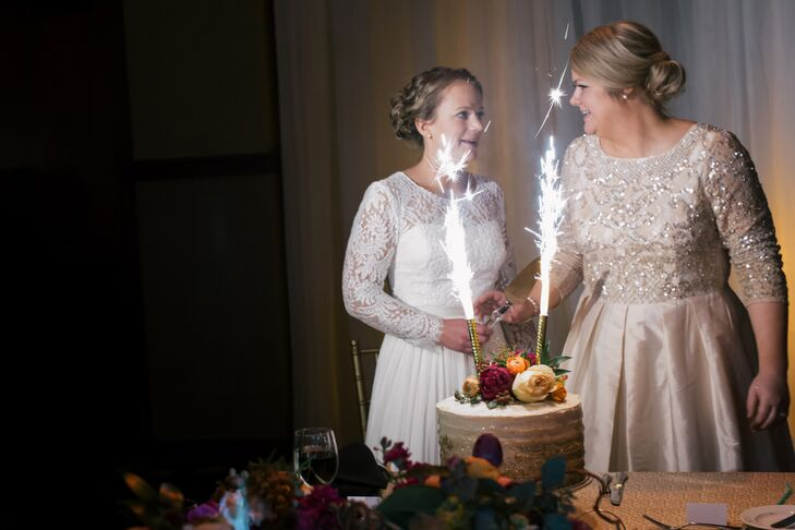 Two sparkling candles added a dramatic flair to the cake cutting.