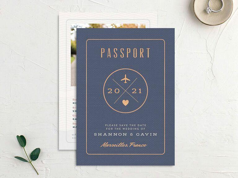 passport destination wedding save the date