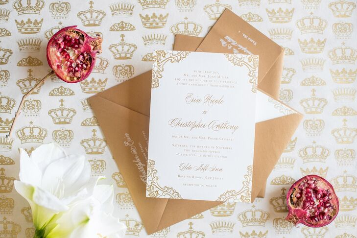 """Drolet Paperie created a gold letterpress design for the invitation suite. """"I wanted classic foil letterpress—there's something so romantic and official about it,"""" Erin says."""